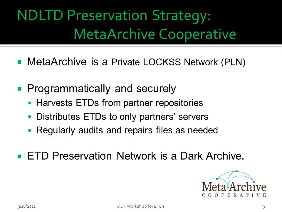 9/16/2011DDP Workshop for ETDs20
