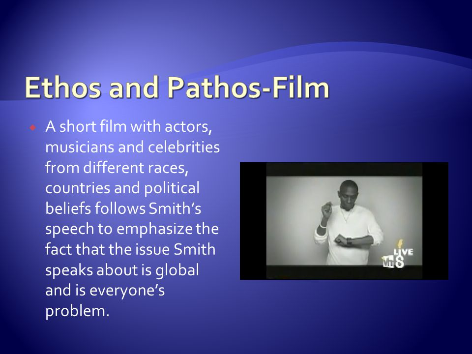  A short film with actors, musicians and celebrities from different races, countries and political beliefs follows Smith's speech to emphasize the fa