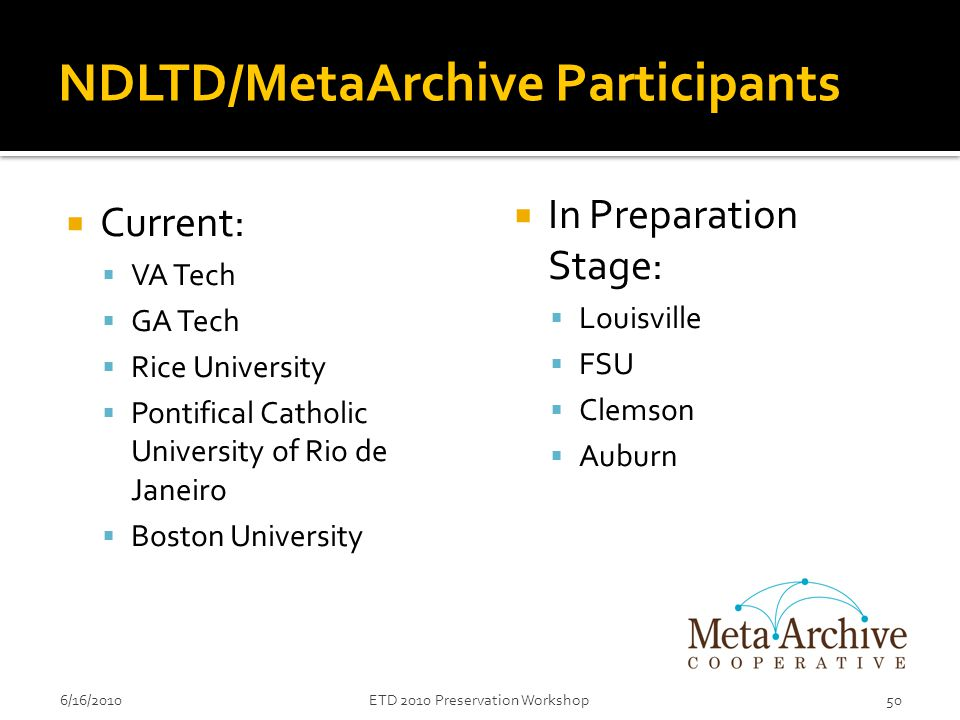 NDLTD/MetaArchive Participants  Current:  VA Tech  GA Tech  Rice University  Pontifical Catholic University of Rio de Janeiro  Boston University 6/16/2010ETD 2010 Preservation Workshop50  In Preparation Stage:  Louisville  FSU  Clemson  Auburn