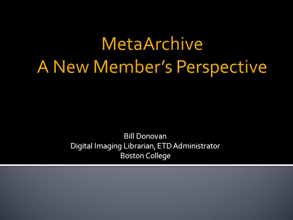 MetaArchive A New Member's Perspective Bill Donovan Digital Imaging Librarian, ETD Administrator Boston College
