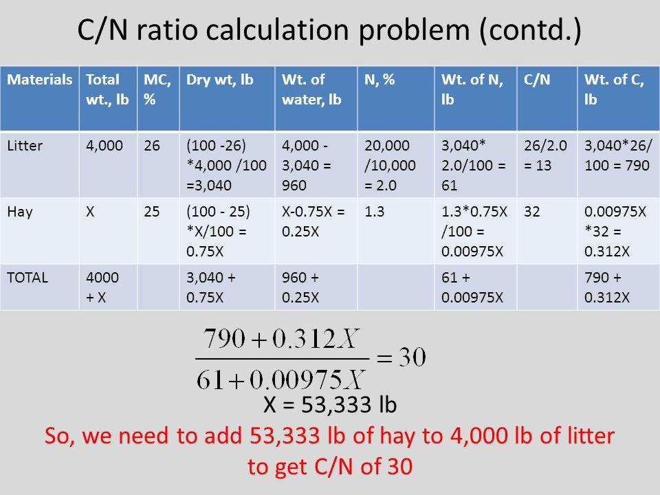 C/N ratio calculation problem (contd.) MaterialsTotal wt., lb MC, % Dry wt, lbWt.
