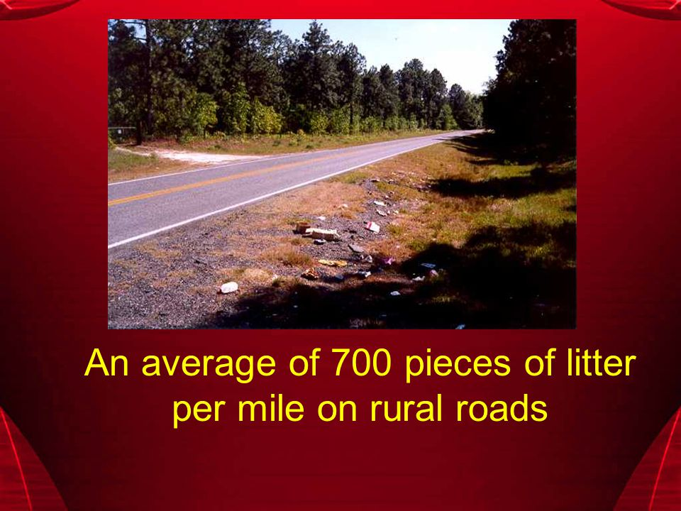 An average of 700 pieces of litter per mile on rural roads