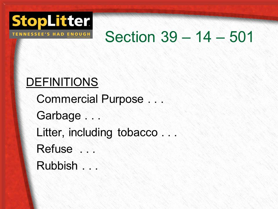 Section 39 – 14 – 501 DEFINITIONS Commercial Purpose...