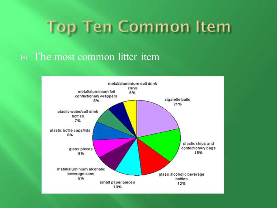  The most common litter item