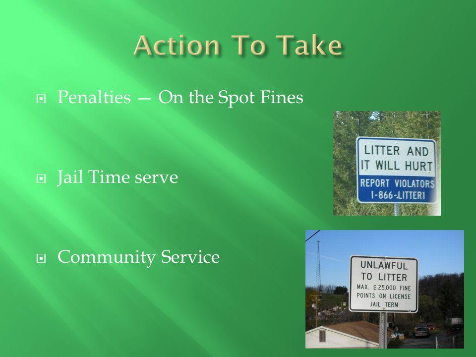 Penalties — On the Spot Fines  Jail Time serve  Community Service