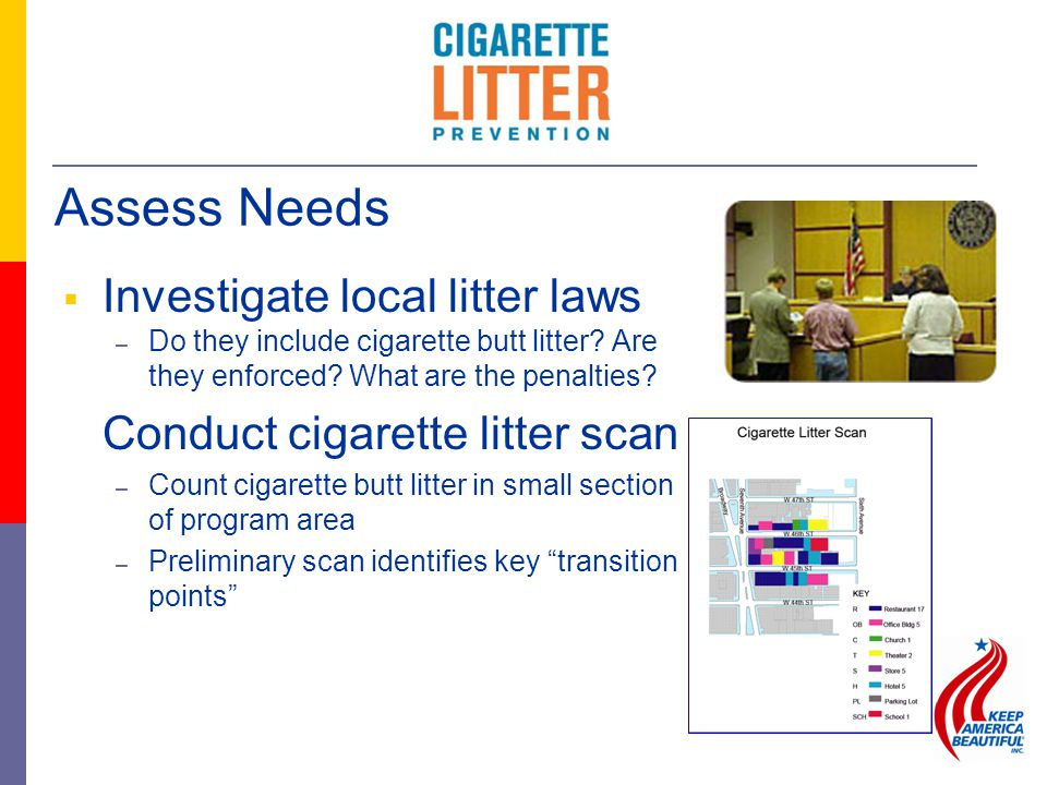  Investigate local litter laws – Do they include cigarette butt litter? Are they enforced? What are the penalties? Conduct cigarette litter scan – Co