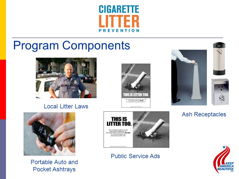 Program Components Portable Auto and Pocket Ashtrays Public Service Ads Ash Receptacles Local Litter Laws