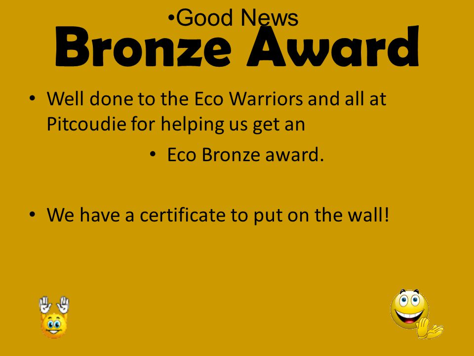 Bronze Award Well done to the Eco Warriors and all at Pitcoudie for helping us get an Eco Bronze award.