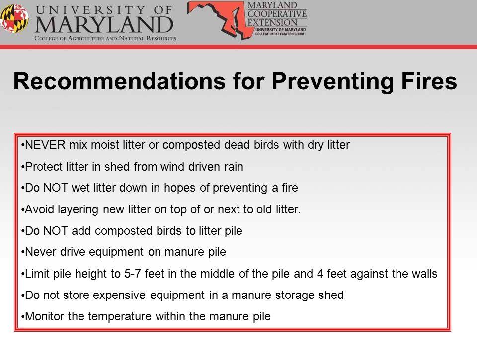FINALLY…… If the temperature exceeds 190 degrees Fahrenheit or smoldering occurs, manure will need to be removed from the pile.