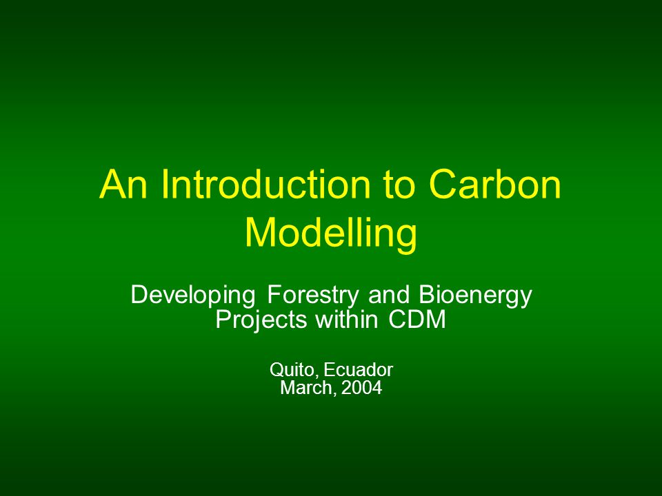 An Introduction to Carbon Modelling Developing Forestry and Bioenergy Projects within CDM Quito, Ecuador March, 2004
