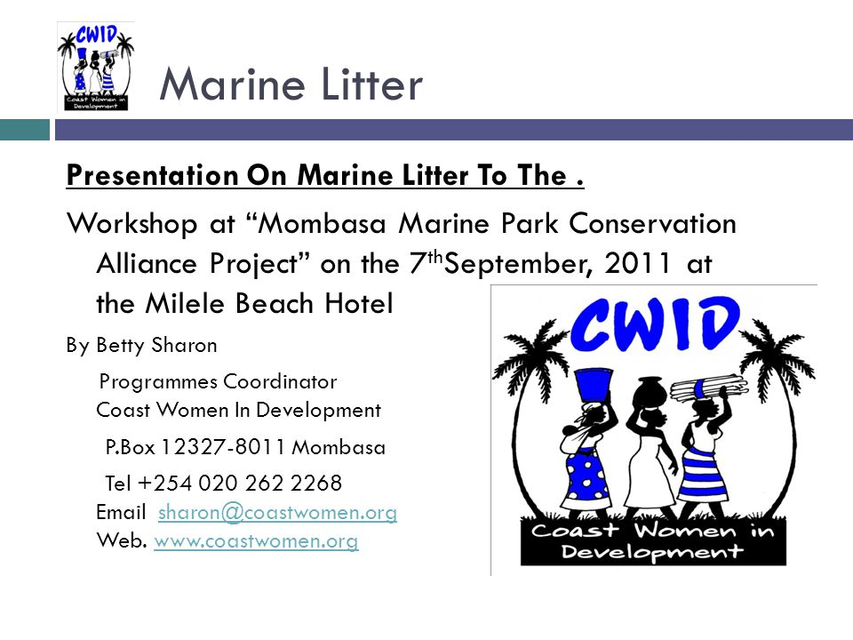Marine Litter Presentation On Marine Litter To The.