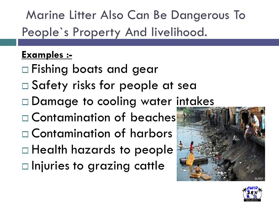 Marine Litter Also Can Be Dangerous To People`s Property And livelihood. Examples :-  Fishing boats and gear  Safety risks for people at sea  Damag