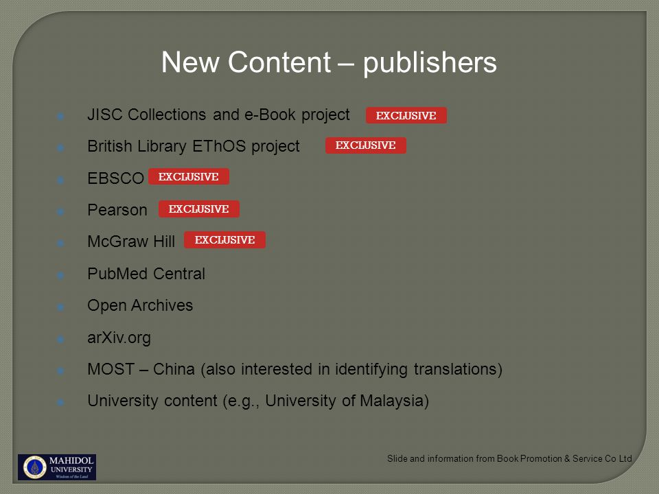 New Content - CrossRef 25+ million journal articles already ACM, BMJ Publishing Group, Elsevier, IEEE, Nature Publishing Group, Oxford University Press, Sage, Informa UK (Taylor & Francis), Wiley Blackwell, Springer, Sage, Am.