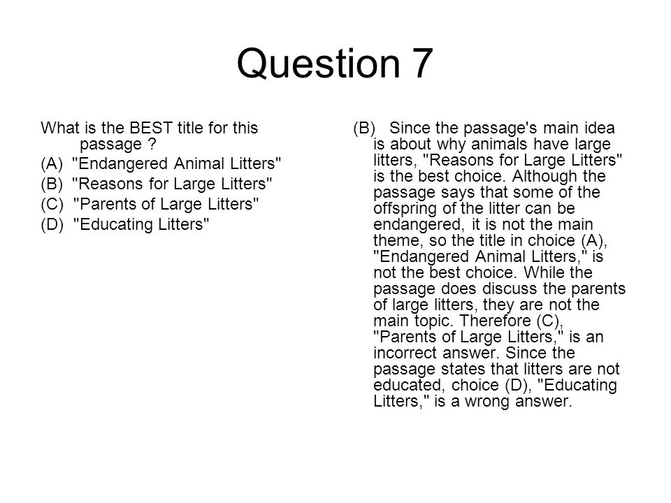 Question 8 What is a litter.