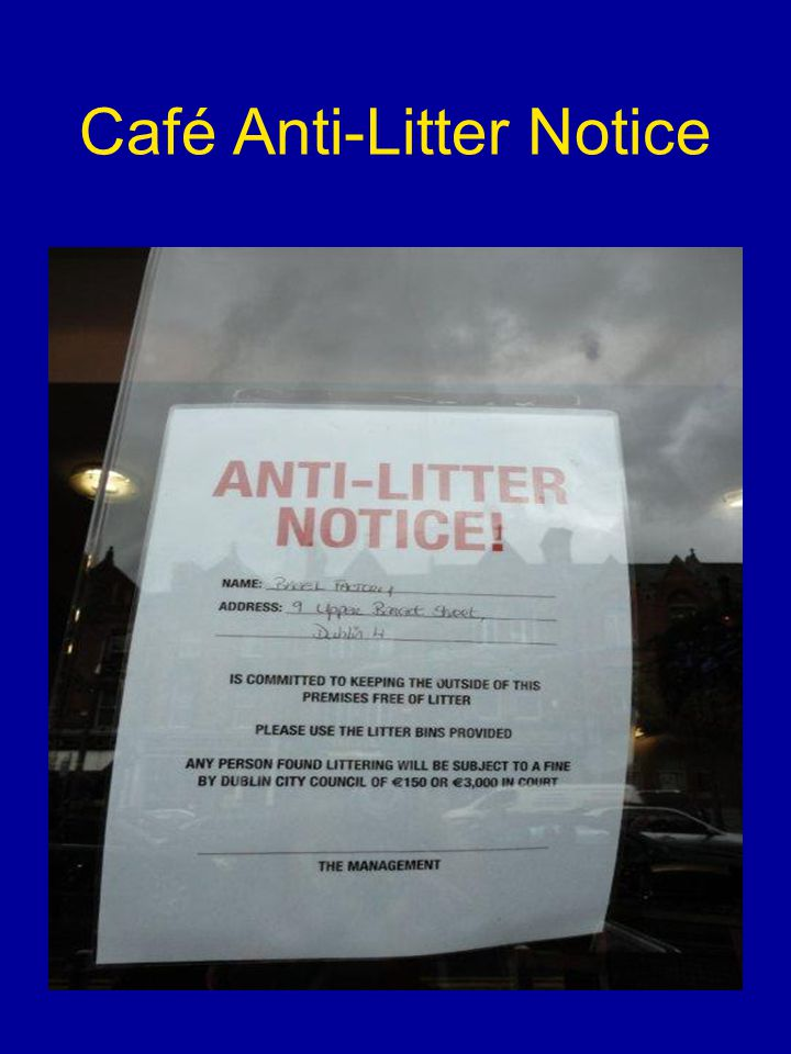 Café Anti-Litter Notice