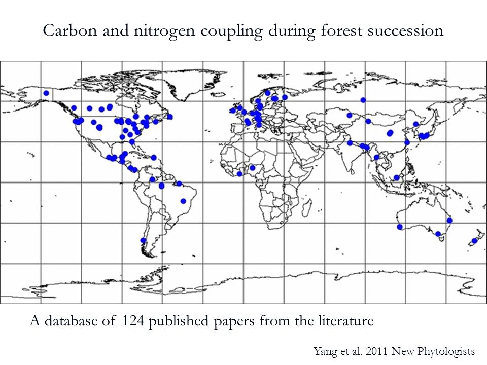 A database of 124 published papers from the literature Carbon and nitrogen coupling during forest succession Yang et al.