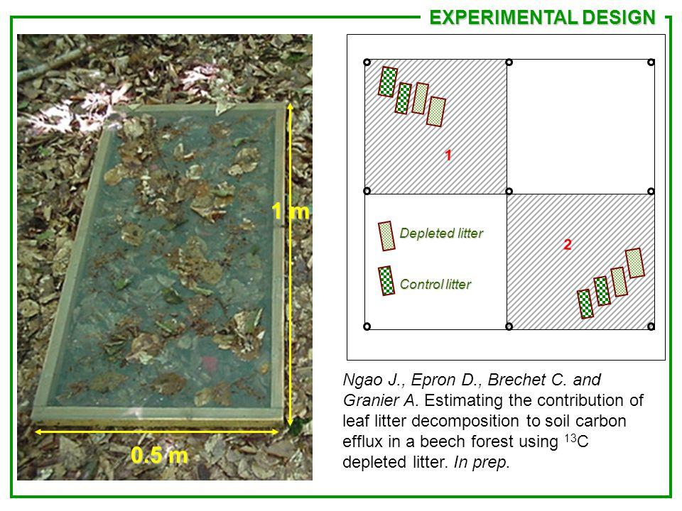 0.5 m 1 m Depleted litter Control litter 1 2 EXPERIMENTAL DESIGN Ngao J., Epron D., Brechet C.