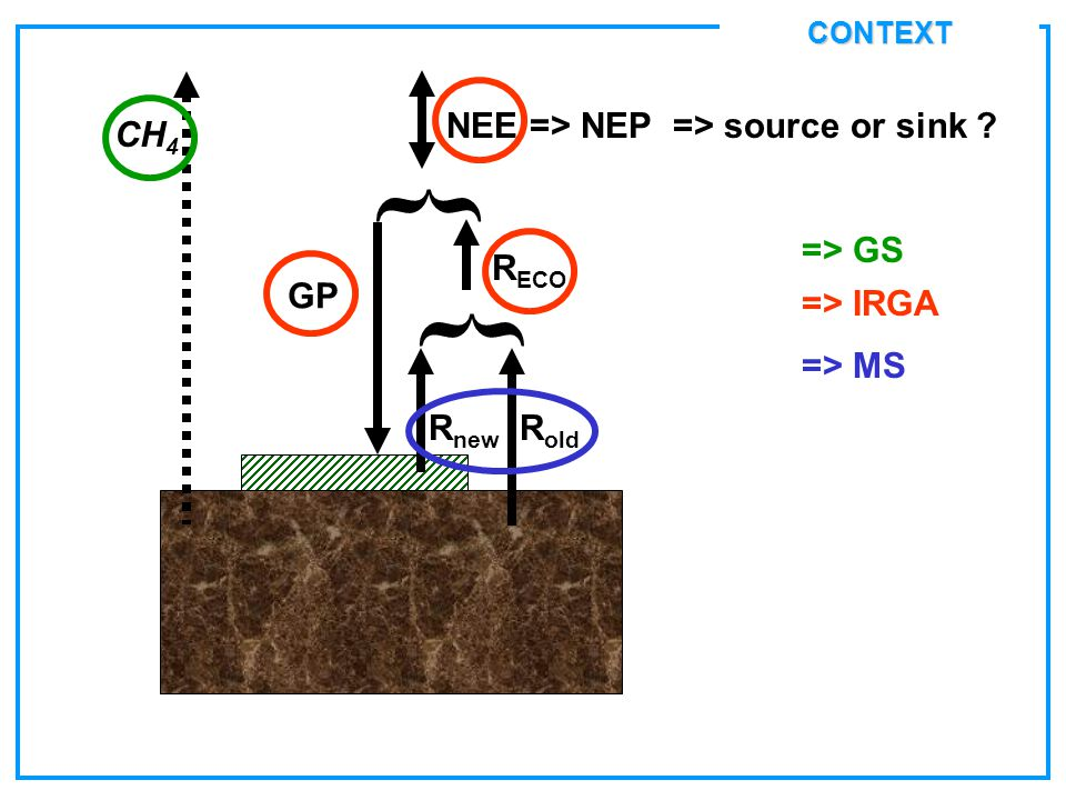 CONTEXT GP } NEE => NEP => source or sink ? R ECO } R old R new => IRGA CH 4 => GS => MS