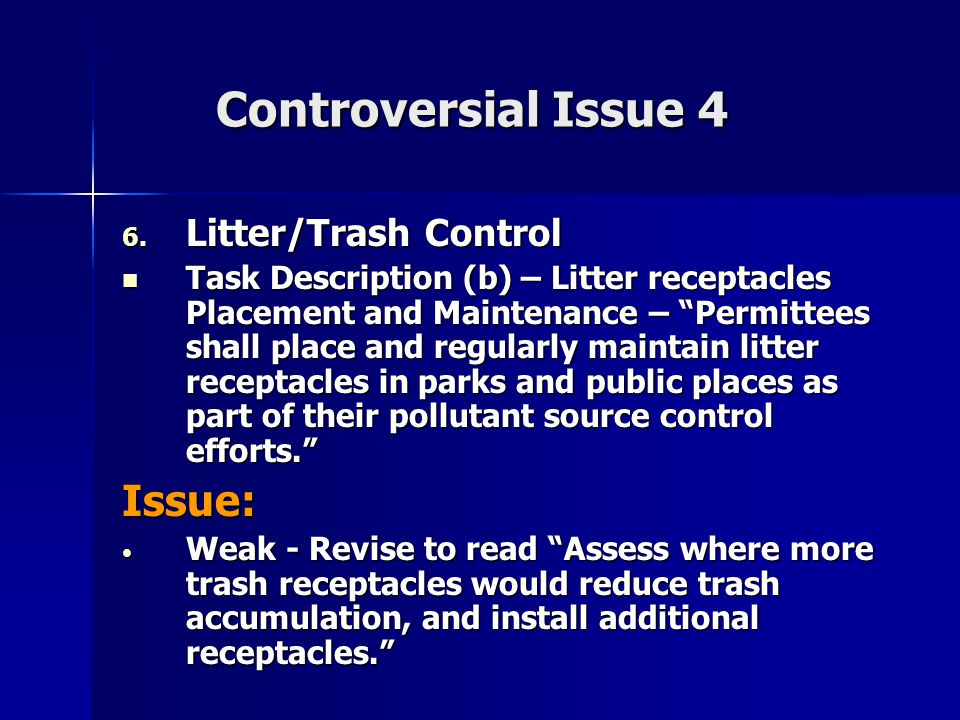 Controversial Issue 5 7.