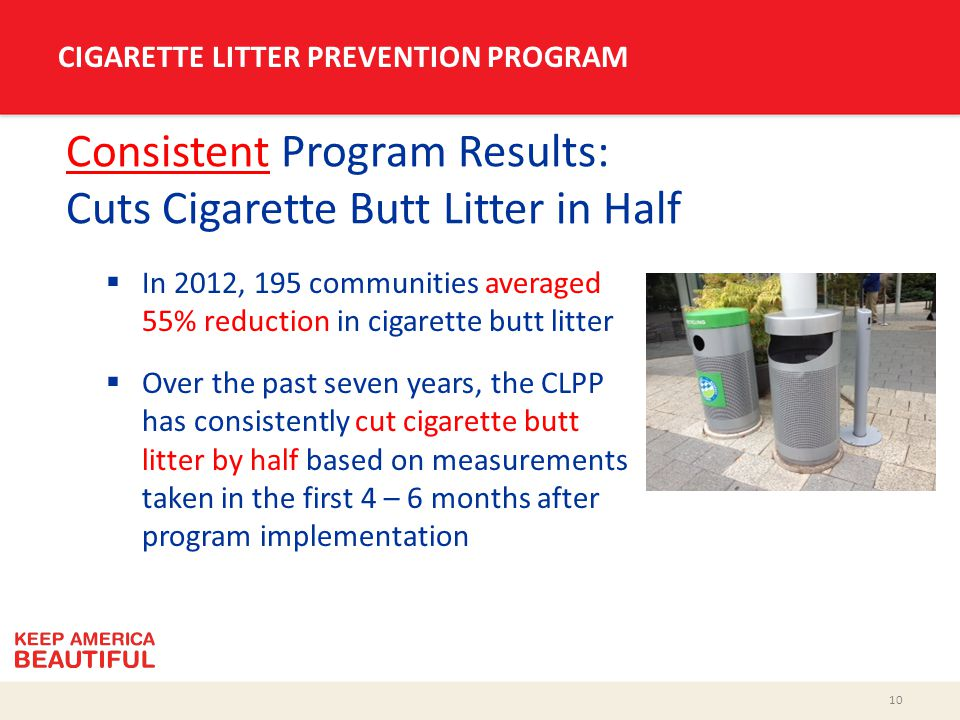10 CIGARETTE LITTER PREVENTION PROGRAM Consistent Program Results: Cuts Cigarette Butt Litter in Half  In 2012, 195 communities averaged 55% reduction in cigarette butt litter  Over the past seven years, the CLPP has consistently cut cigarette butt litter by half based on measurements taken in the first 4 – 6 months after program implementation