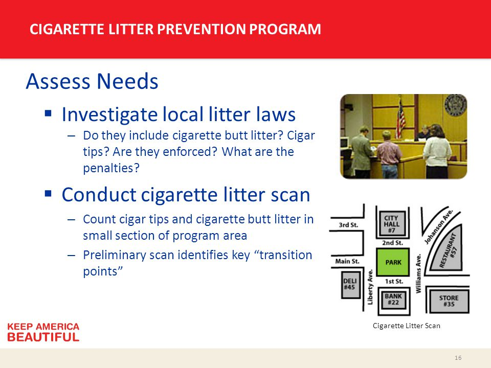 16 CIGARETTE LITTER PREVENTION PROGRAM Assess Needs  Investigate local litter laws – Do they include cigarette butt litter? Cigar tips? Are they enfo