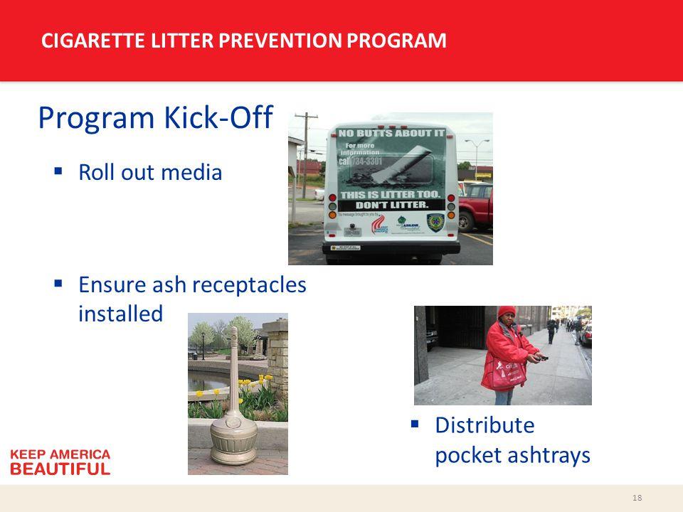 18 CIGARETTE LITTER PREVENTION PROGRAM Program Kick-Off  Roll out media  Ensure ash receptacles installed  Distribute pocket ashtrays