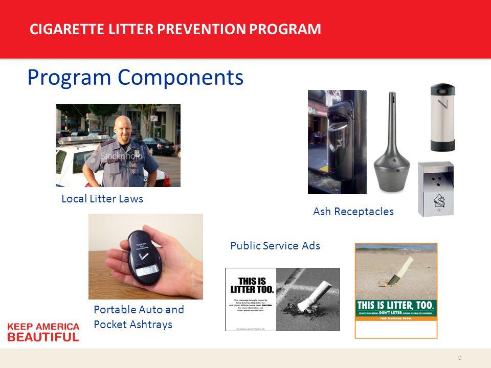 9 CIGARETTE LITTER PREVENTION PROGRAM Program Components Local Litter Laws Portable Auto and Pocket Ashtrays Public Service Ads Ash Receptacles