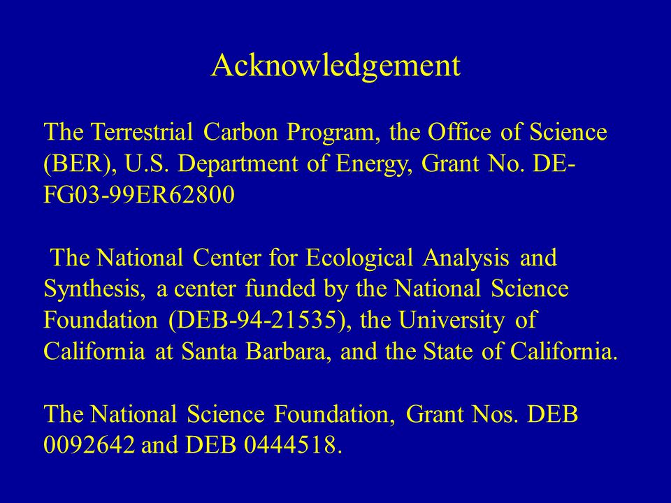 Acknowledgement The Terrestrial Carbon Program, the Office of Science (BER), U.S.
