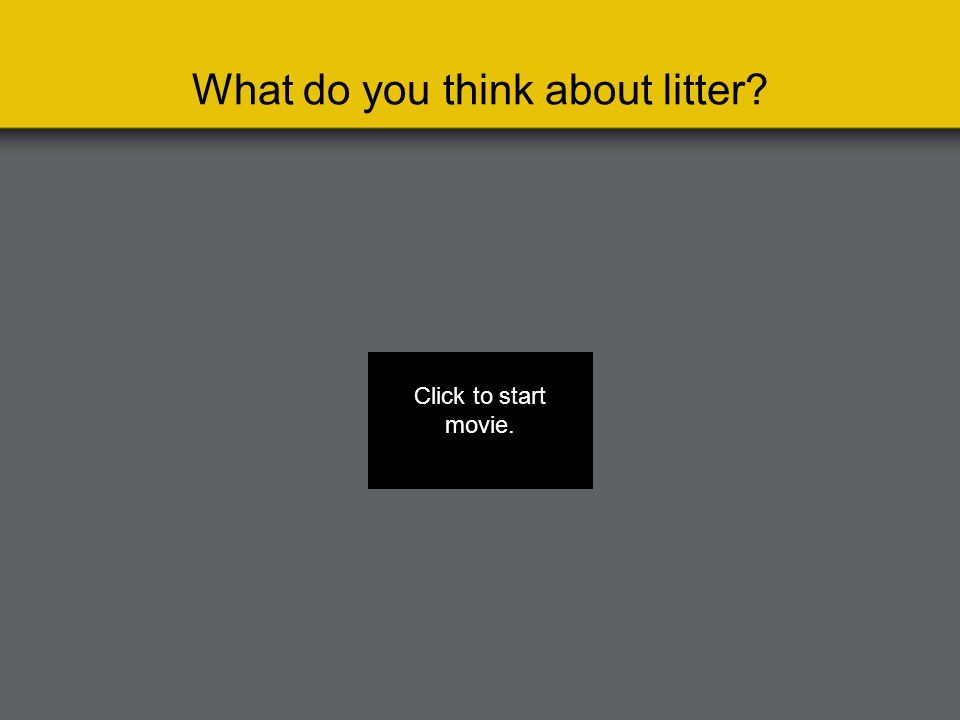 What do you think about litter Click to start movie.