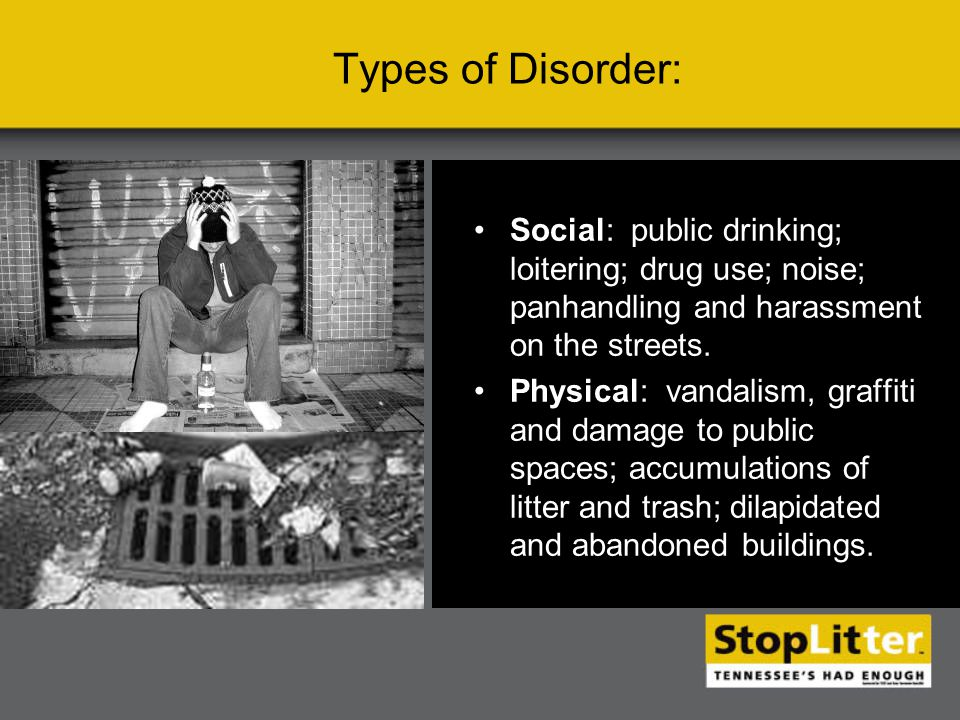 Social: public drinking; loitering; drug use; noise; panhandling and harassment on the streets.