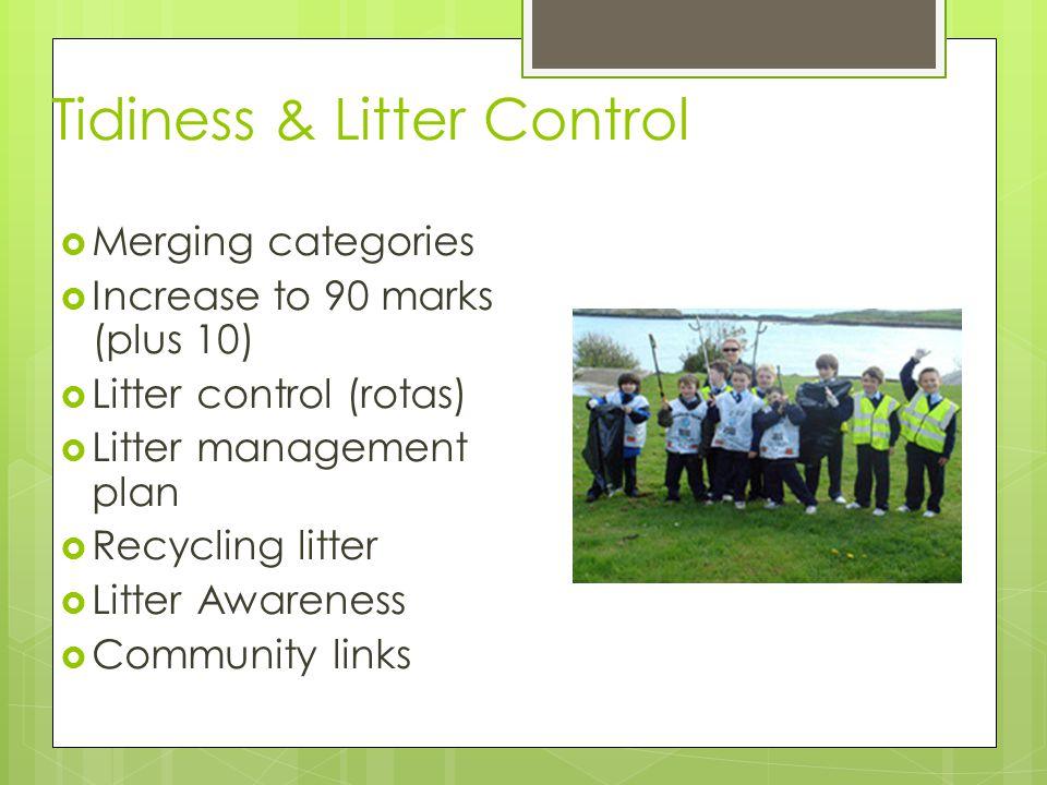 Tidiness & Litter Control  Merging categories  Increase to 90 marks (plus 10)  Litter control (rotas)  Litter management plan  Recycling litter  Litter Awareness  Community links