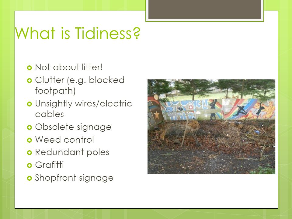 What is Tidiness?  Not about litter!  Clutter (e.g. blocked footpath)  Unsightly wires/electric cables  Obsolete signage  Weed control  Redundan