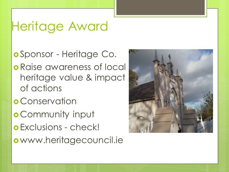 Heritage Award  Sponsor - Heritage Co.