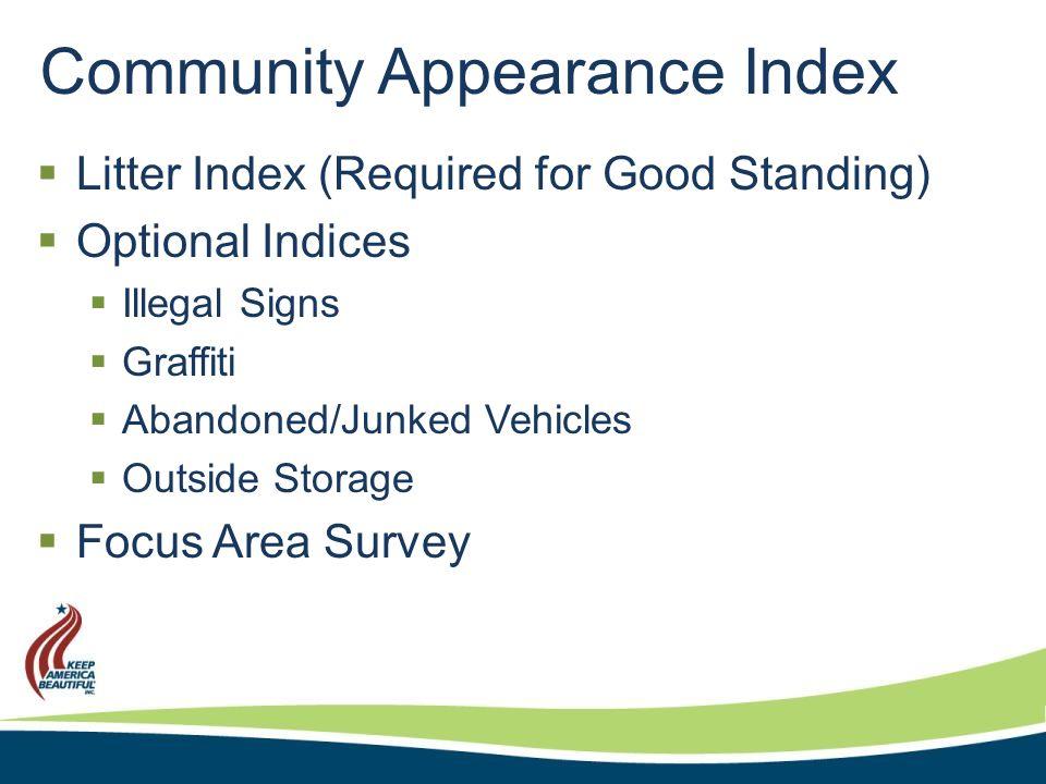 Community Appearance Index Litter Index  Minimum 5 Areas  10 Sites in each Area  Minimum 50 Sites per Community  Site ½-1 mile length