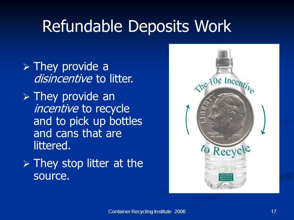 17Container Recycling Institute 2006 Refundable Deposits Work  They provide a disincentive to litter.  They provide an incentive to recycle and to p