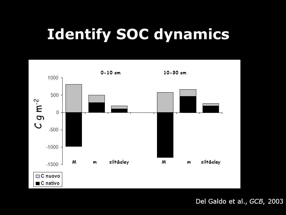 Identify SOC dynamics -1500 -1000 -500 0 500 1000 0-10 cm 10-30 cm M m silt&clay C g m -2 C nuovo C nativo Del Galdo et al., GCB, 2003