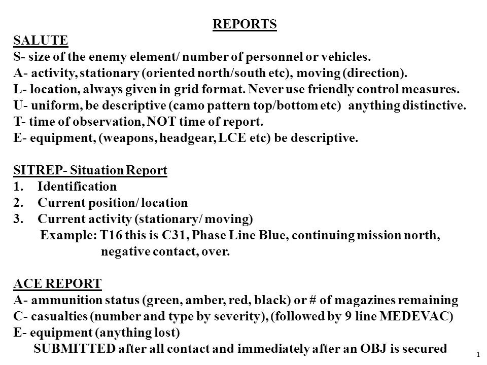 REPORTS SALUTE S- size of the enemy element/ number of personnel or vehicles.