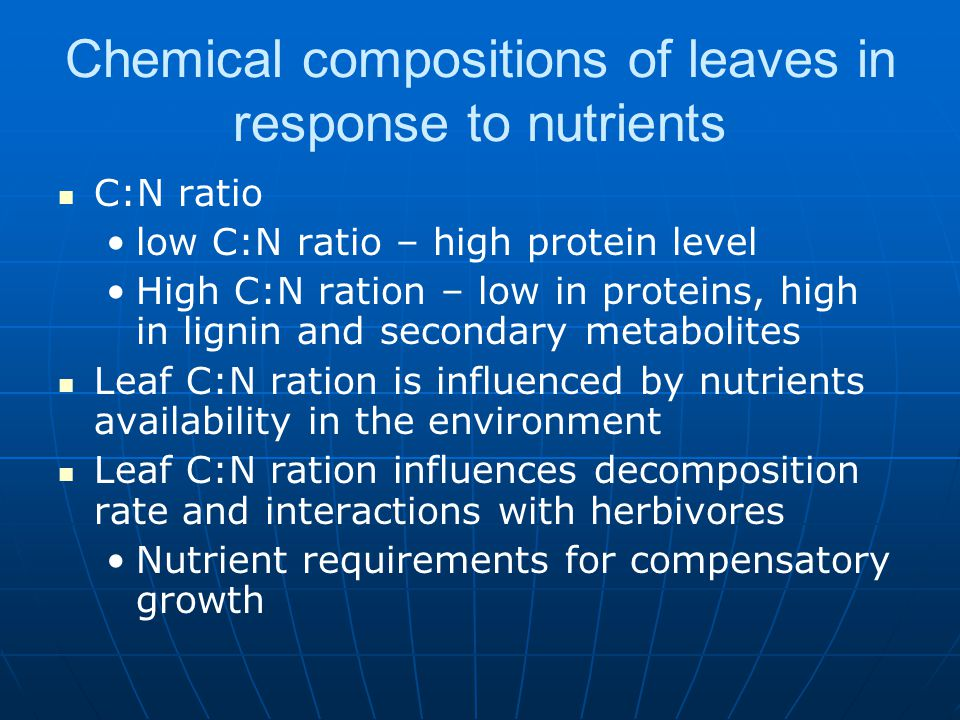 Chemical compositions of leaves in response to nutrients C:N ratio low C:N ratio – high protein level High C:N ration – low in proteins, high in ligni
