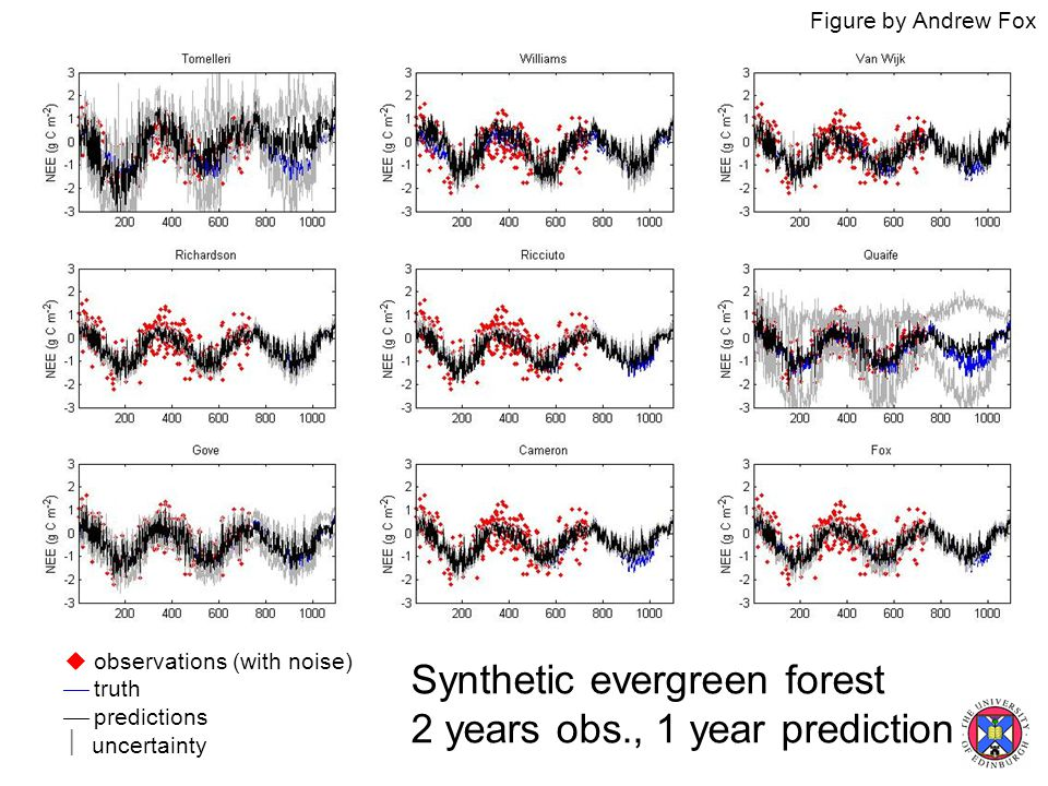  observations (with noise)  truth  predictions  uncertainty Synthetic evergreen forest 2 years obs., 1 year prediction Figure by Andrew Fox