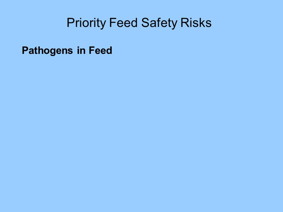 Priority Feed Safety Risks Pathogens in Feed