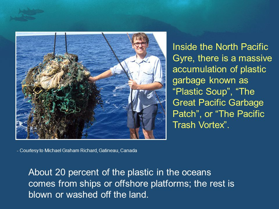 Inside the North Pacific Gyre, there is a massive accumulation of plastic garbage known as Plastic Soup , The Great Pacific Garbage Patch , or The Pacific Trash Vortex .