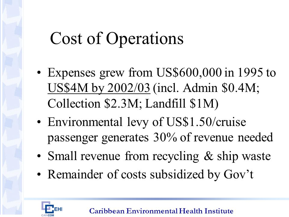 Caribbean Environmental Health Institute Cost of Operations Expenses grew from US$600,000 in 1995 to US$4M by 2002/03 (incl.