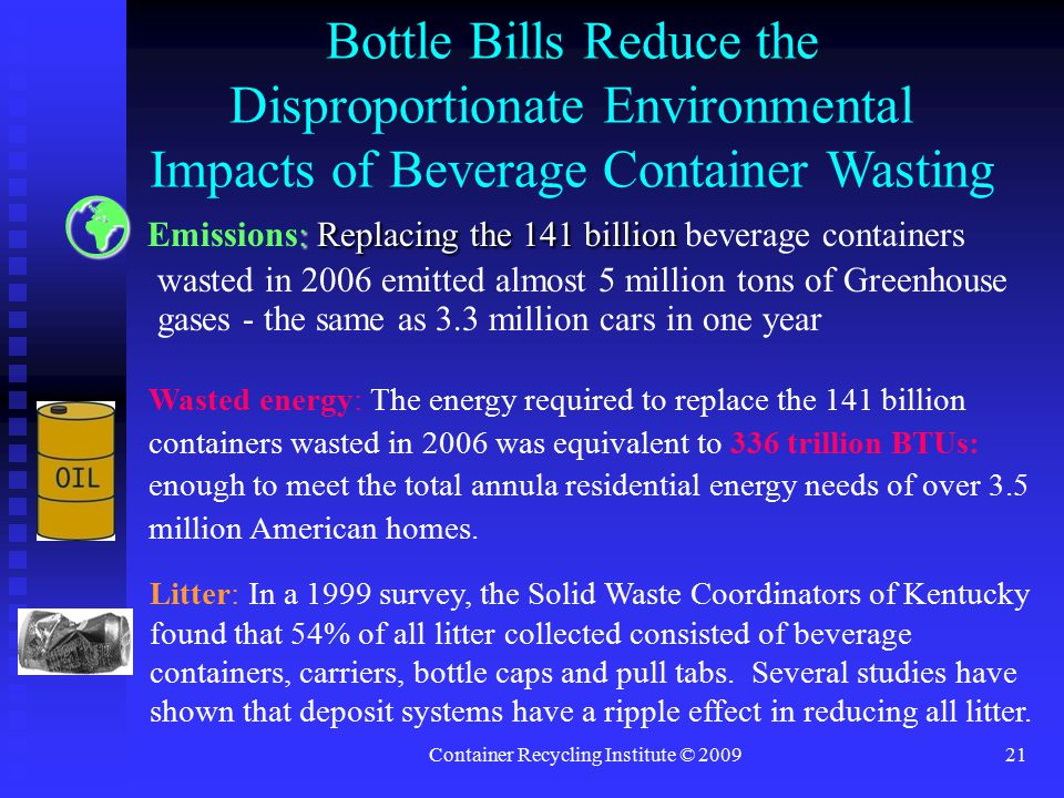 Container Recycling Institute © 200921 Bottle Bills Reduce the Disproportionate Environmental Impacts of Beverage Container Wasting : Replacing the 141 billion Emissions: Replacing the 141 billion beverage containers wasted in 2006 emitted almost 5 million tons of Greenhouse gases - the same as 3.3 million cars in one year Wasted energy: The energy required to replace the 141 billion containers wasted in 2006 was equivalent to 336 trillion BTUs: enough to meet the total annula residential energy needs of over 3.5 million American homes.