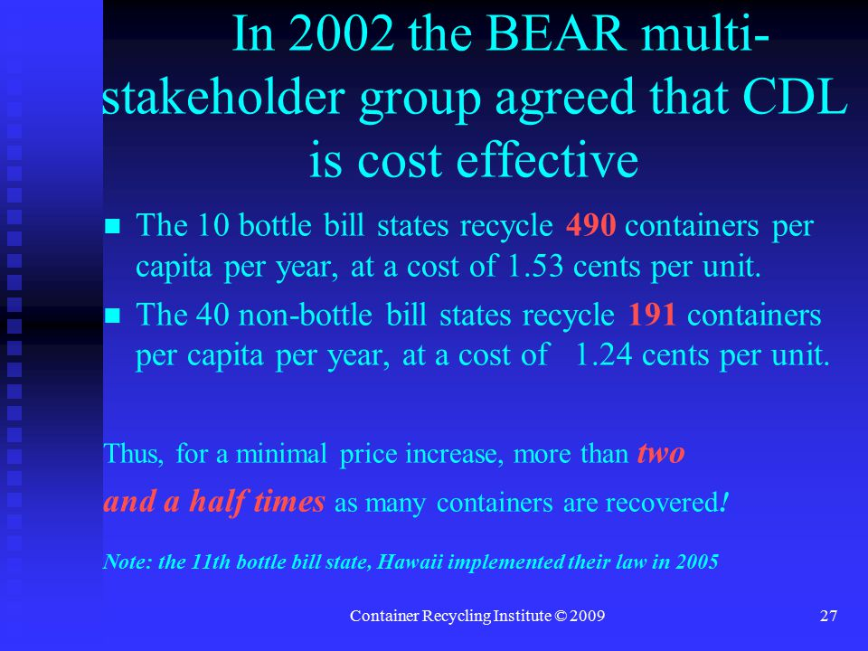 Container Recycling Institute © 200927 In 2002 the BEAR multi- stakeholder group agreed that CDL is cost effective The 10 bottle bill states recycle 490 containers per capita per year, at a cost of 1.53 cents per unit.