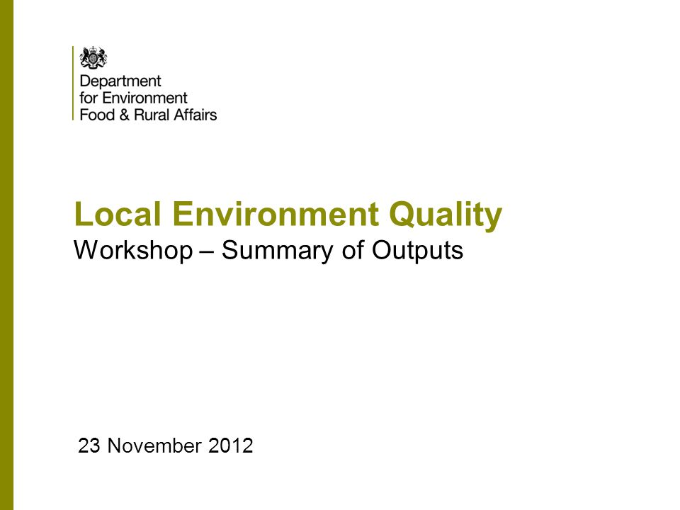 Local Environment Quality Workshop – Summary of Outputs 23 November 2012