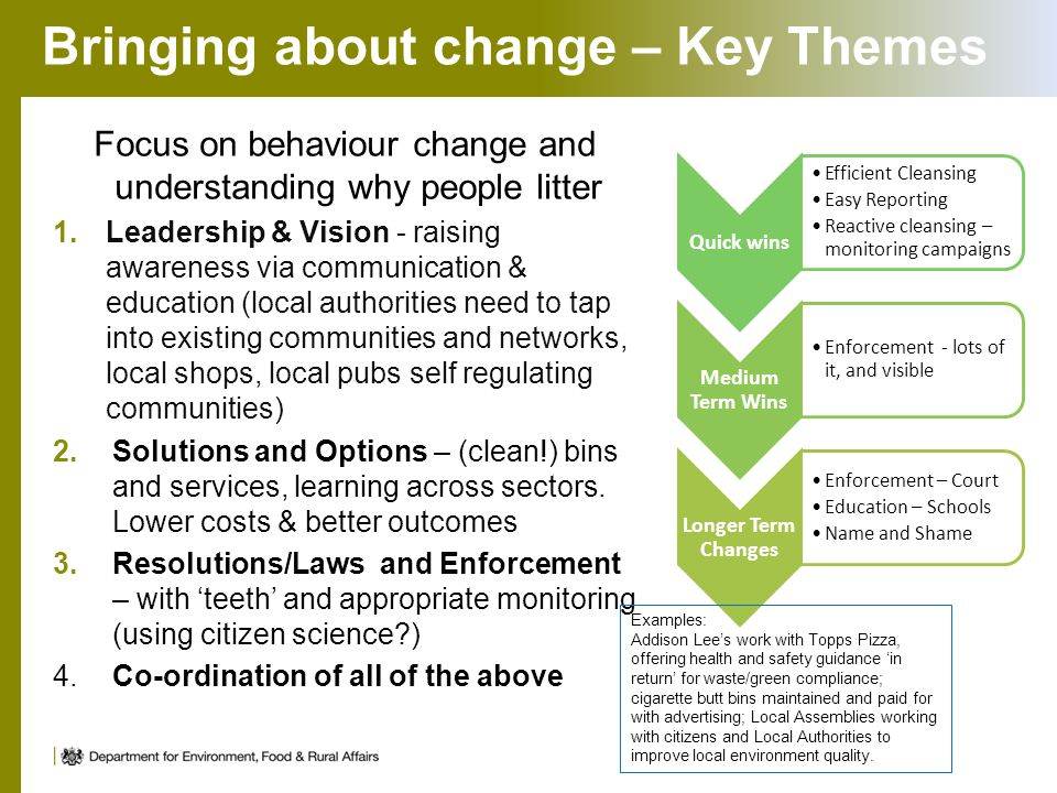 Bringing about change – Key Themes Focus on behaviour change and understanding why people litter 1.Leadership & Vision - raising awareness via communi