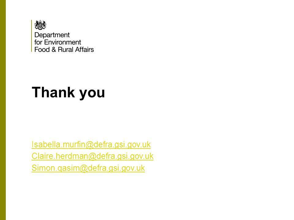 Thank you Isabella.murfin@defra.gsi.gov.uk Claire.herdman@defra.gsi.gov.uk Simon.qasim@defra.gsi.gov.uk