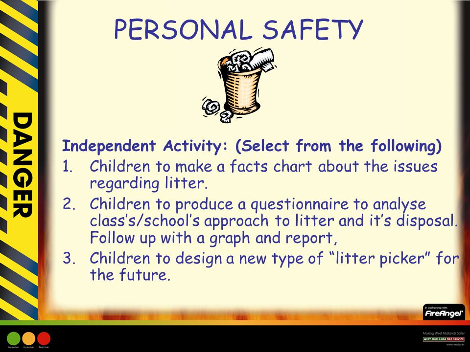 PERSONAL SAFETY Independent Activity: (Select from the following) 1.Children to make a facts chart about the issues regarding litter. 2.Children to pr
