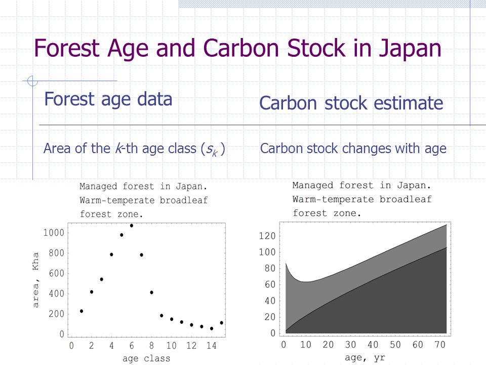 Forest Age and Carbon Stock in Japan Area of the k-th age class (s k ) Forest age data Carbon stock estimate Carbon stock changes with age