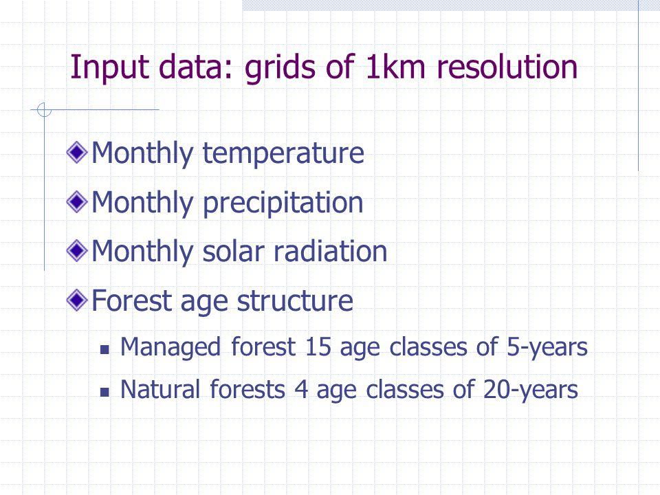 Input data: grids of 1km resolution Monthly temperature Monthly precipitation Monthly solar radiation Forest age structure Managed forest 15 age classes of 5-years Natural forests 4 age classes of 20-years
